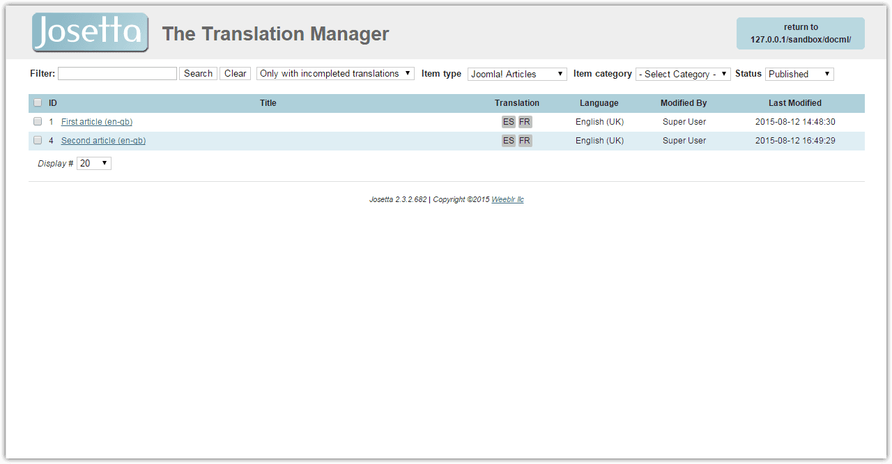 Josetta translation manager front end view