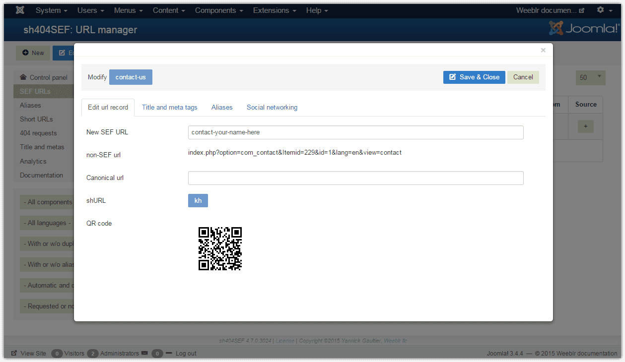 Open popup with URL details