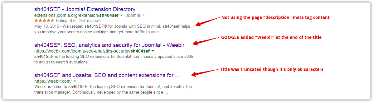 Google US search results for the sh404SEF