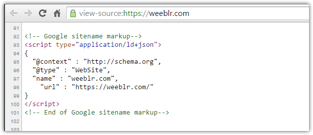 View of weeblr.com home page source code with JSON-LD meta data