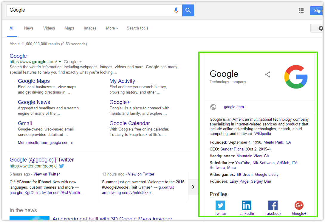 An example of a knowledge graph box