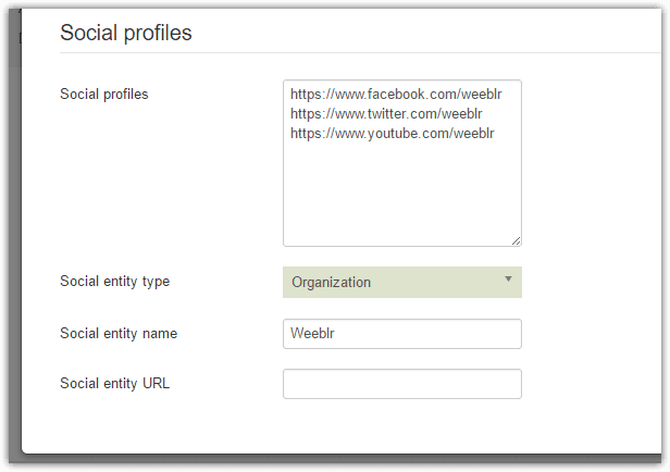 Image of the SOcial profiles section of the Structured data configuration panel of sh404SEF