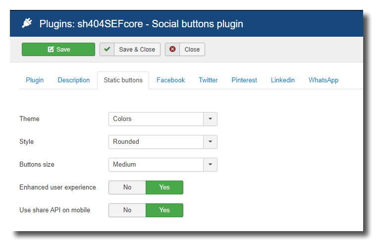 Static sharing buttons configuration screenshot