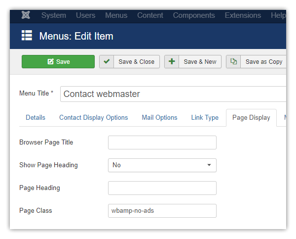 Joomla menu item options page