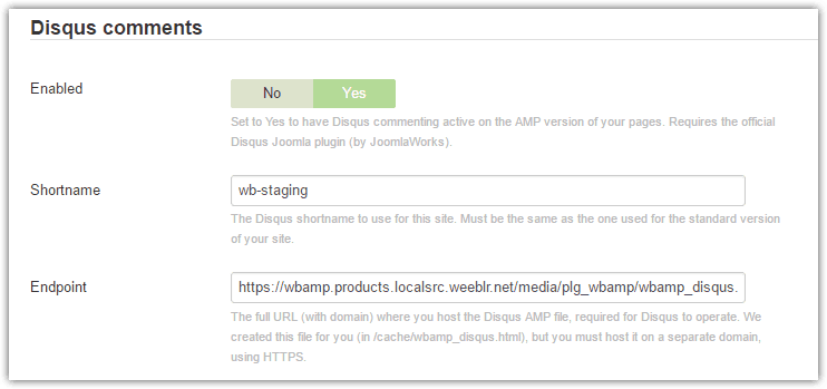wbAMP Disqus comments support settings
